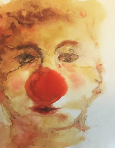 Jonny der Clown, Portrait – Aquarell
