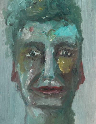 Selbstportrait 7 – Tempera und Öl auf Pappe