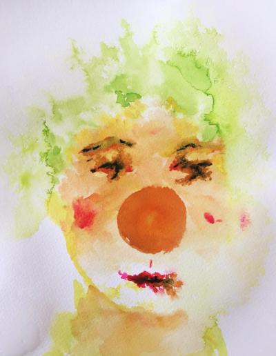 Clown mit grünen Haaren – Aquarell